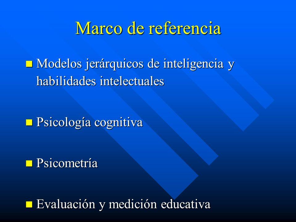 Marco de referencia Modelos jerárquicos de inteligencia y habilidades intelectuales. Psicología cognitiva.