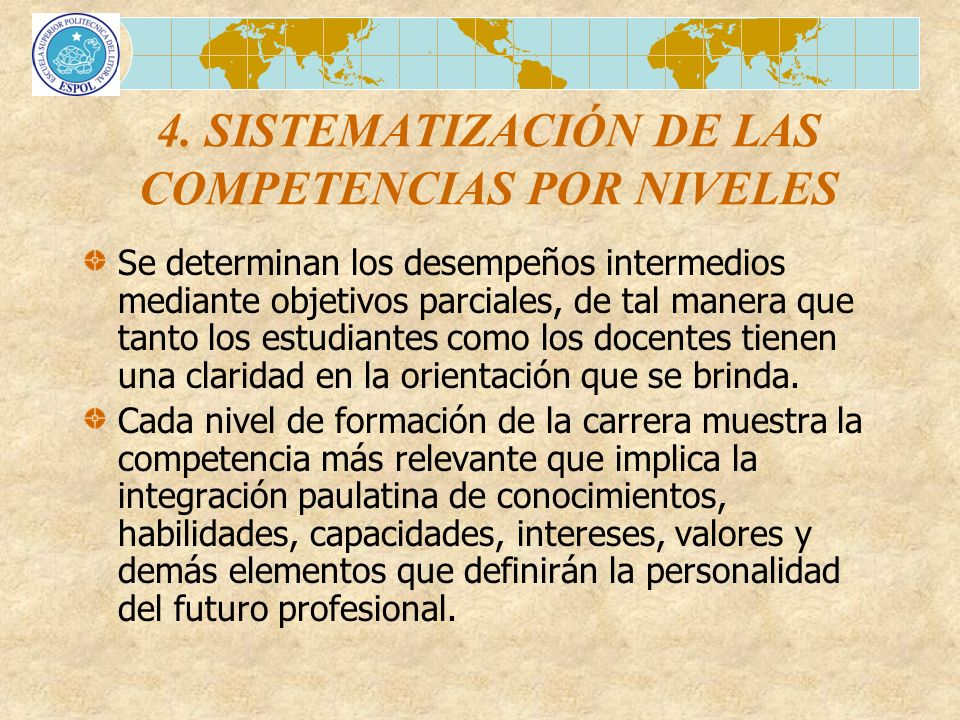 4. SISTEMATIZACIÓN DE LAS COMPETENCIAS POR NIVELES
