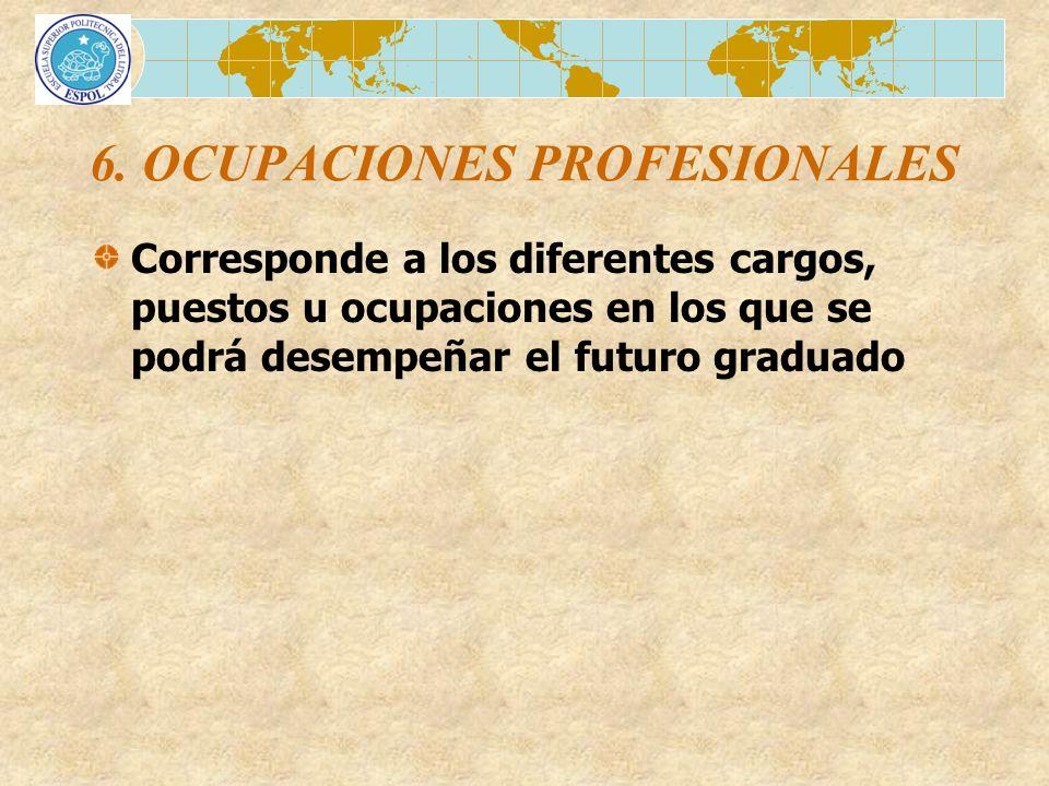 6. OCUPACIONES PROFESIONALES