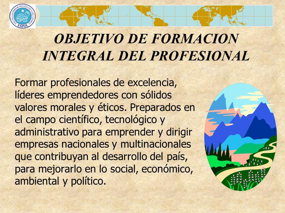 OBJETIVO DE FORMACION INTEGRAL DEL PROFESIONAL
