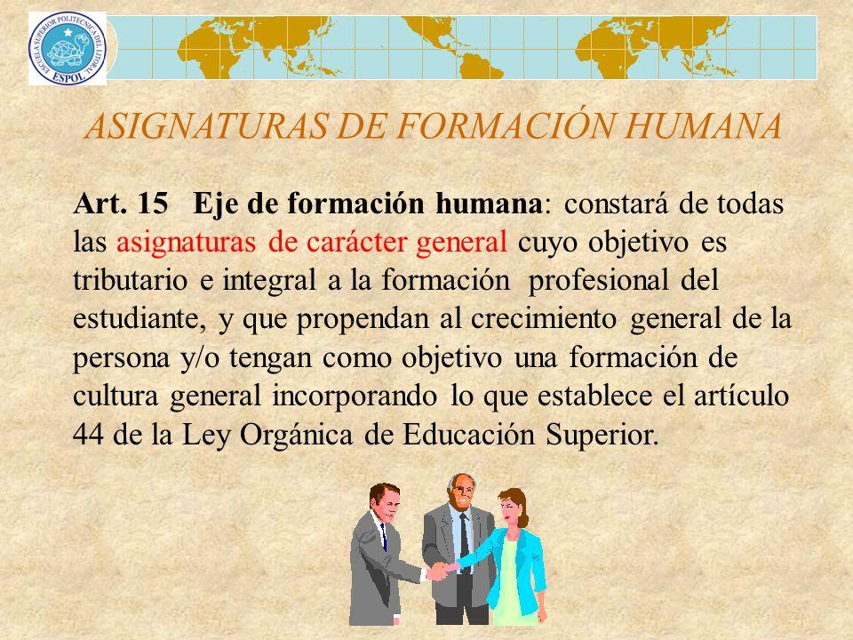 ASIGNATURAS DE FORMACIÓN HUMANA