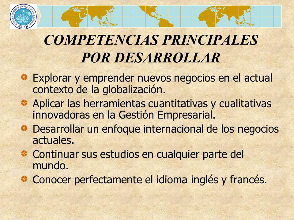 COMPETENCIAS PRINCIPALES POR DESARROLLAR