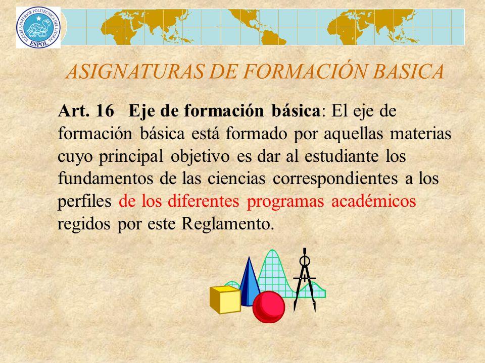 ASIGNATURAS DE FORMACIÓN BASICA