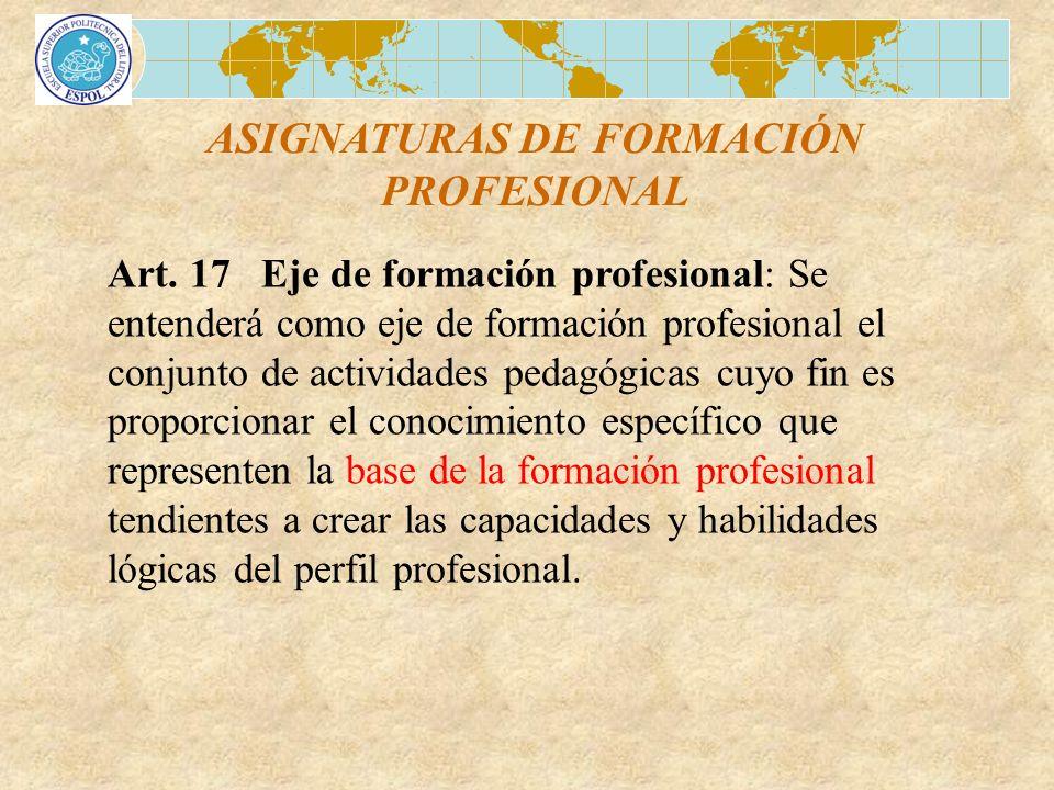 ASIGNATURAS DE FORMACIÓN PROFESIONAL