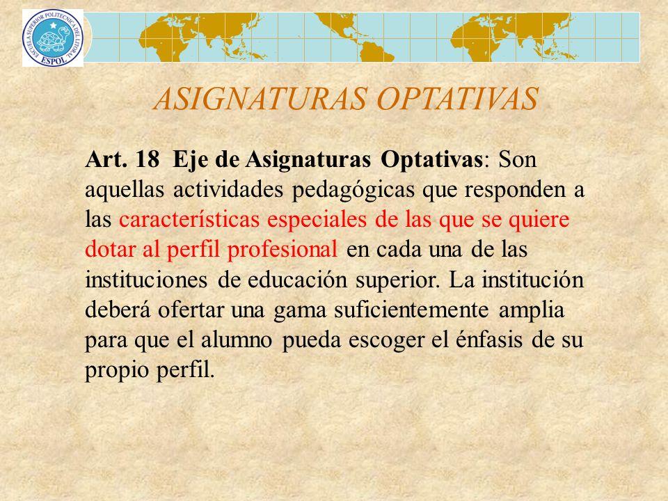 ASIGNATURAS OPTATIVAS