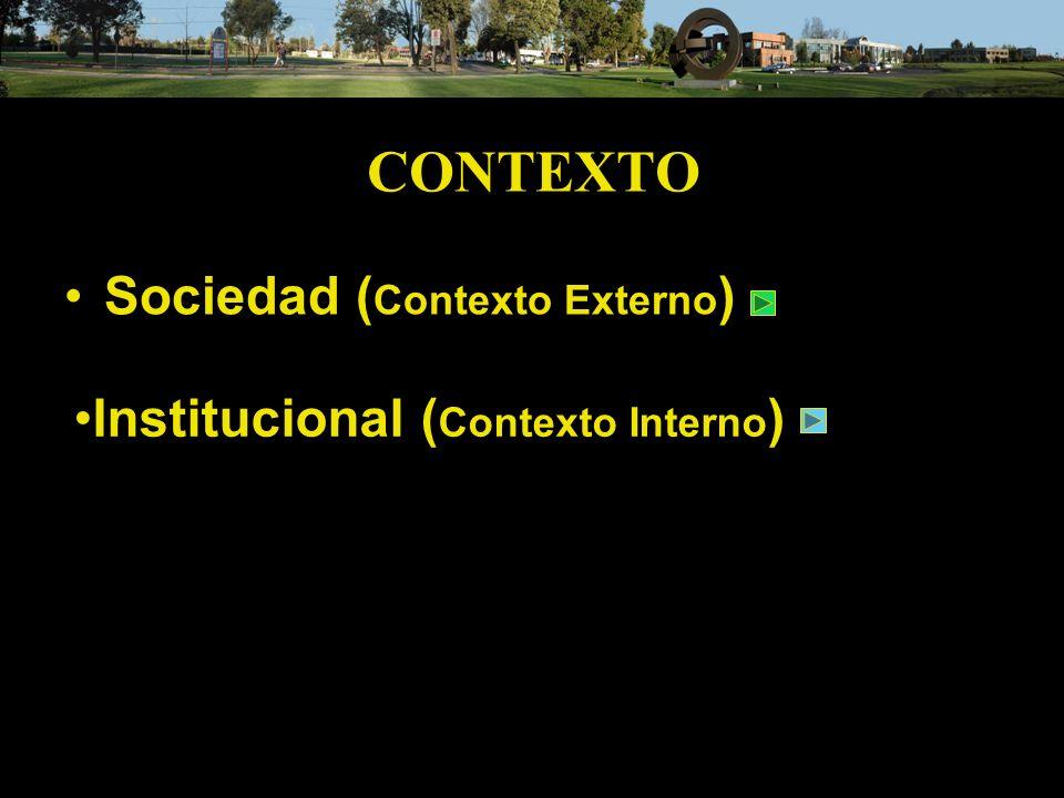 CONTEXTO Sociedad (Contexto Externo) Institucional (Contexto Interno)
