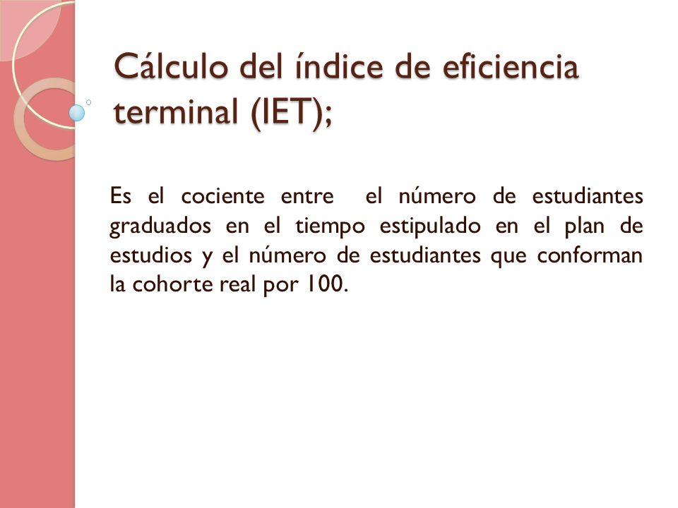 Cálculo del índice de eficiencia terminal (IET);