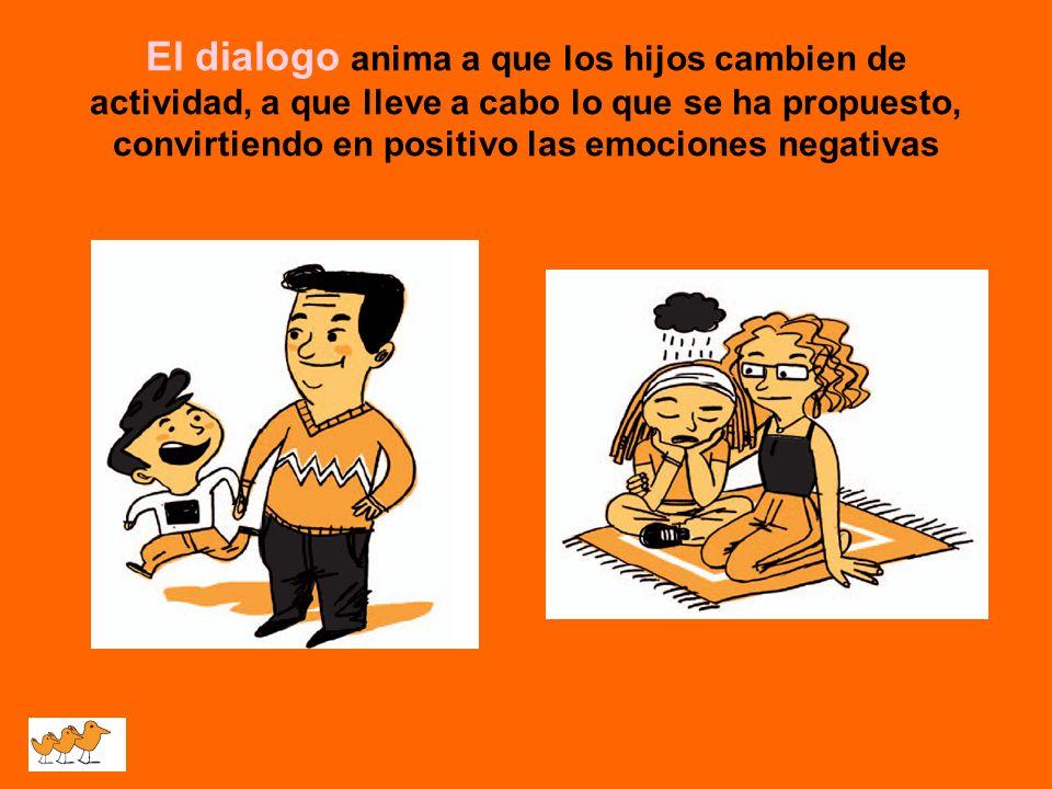 El dialogo anima a que los hijos cambien de actividad, a que lleve a cabo lo que se ha propuesto, convirtiendo en positivo las emociones negativas