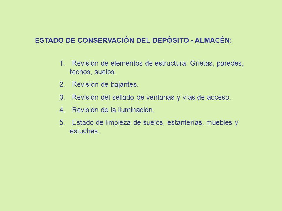 ESTADO DE CONSERVACIÓN DEL DEPÓSITO - ALMACÉN: