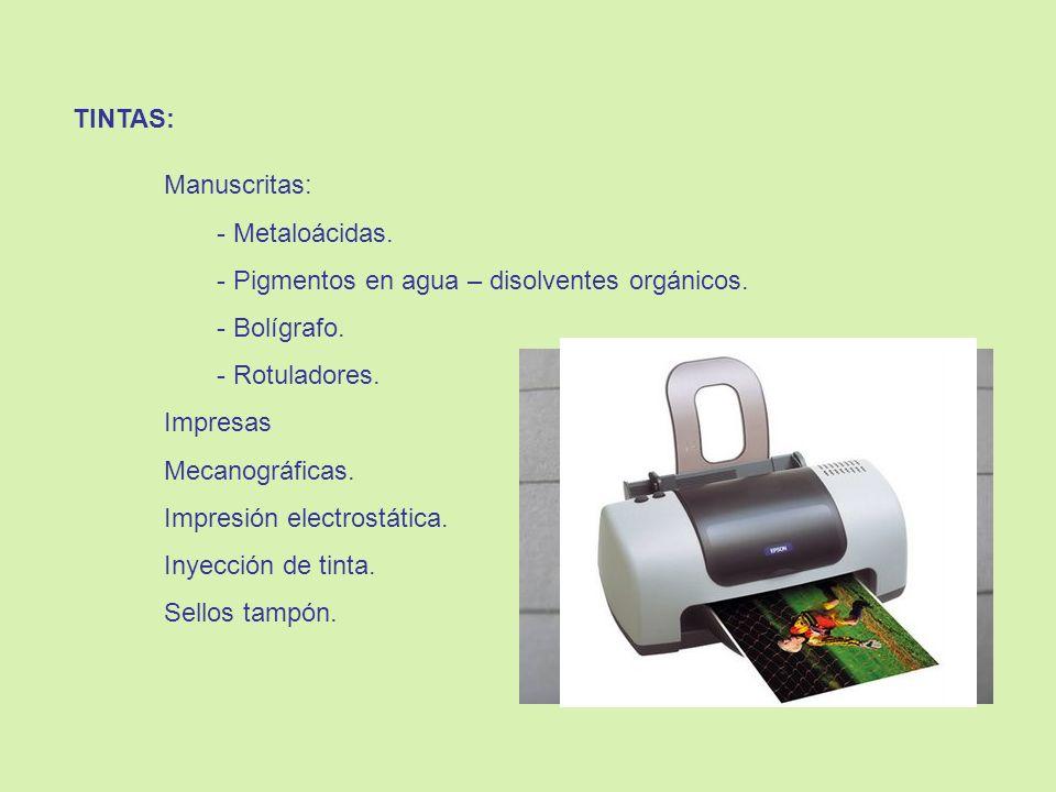 TINTAS: Manuscritas: Metaloácidas. Pigmentos en agua – disolventes orgánicos. Bolígrafo. Rotuladores.