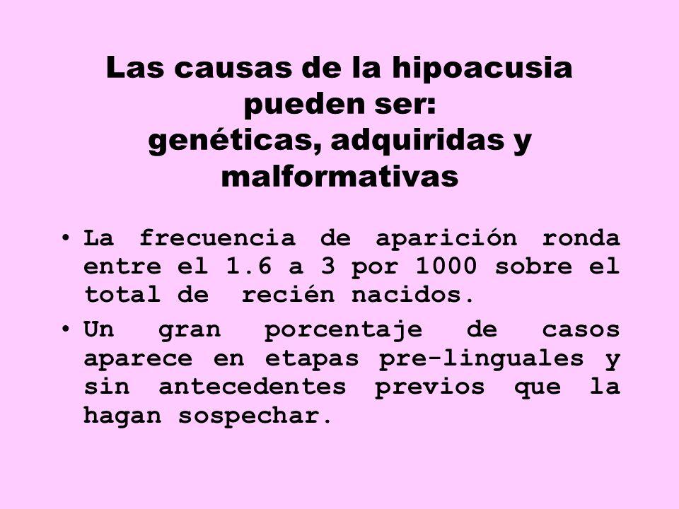 Las causas de la hipoacusia pueden ser: genéticas, adquiridas y malformativas