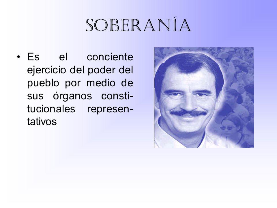 soberanía Es el conciente ejercicio del poder del pueblo por medio de sus órganos consti-tucionales represen-tativos.