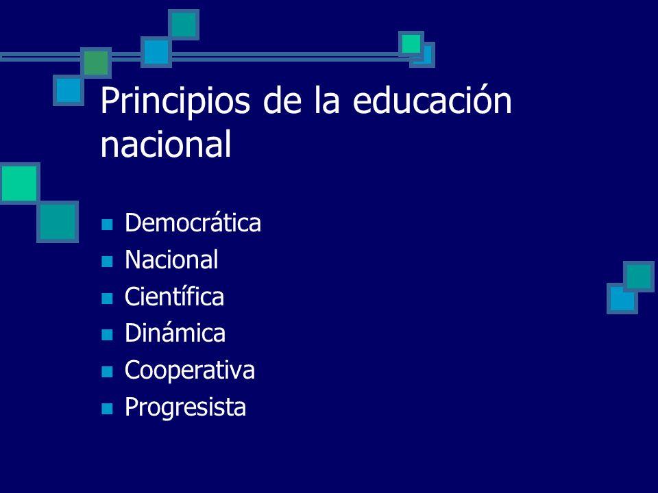 Principios de la educación nacional