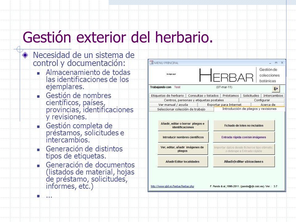 Gestión exterior del herbario.