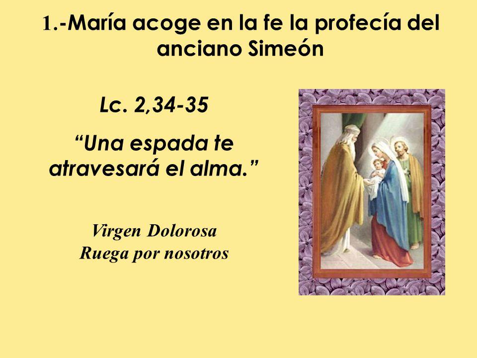 1.-María acoge en la fe la profecía del anciano Simeón