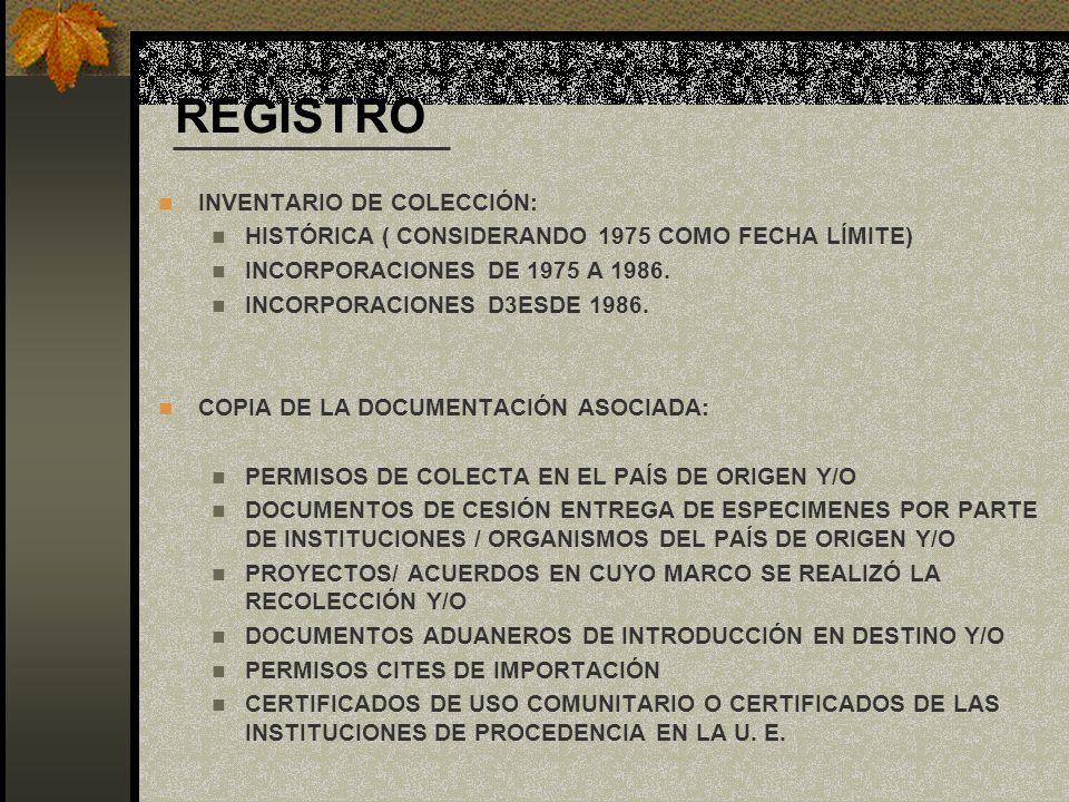 REGISTRO INVENTARIO DE COLECCIÓN: