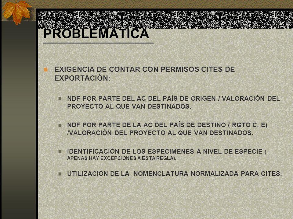 PROBLEMÁTICA EXIGENCIA DE CONTAR CON PERMISOS CITES DE EXPORTACIÓN: