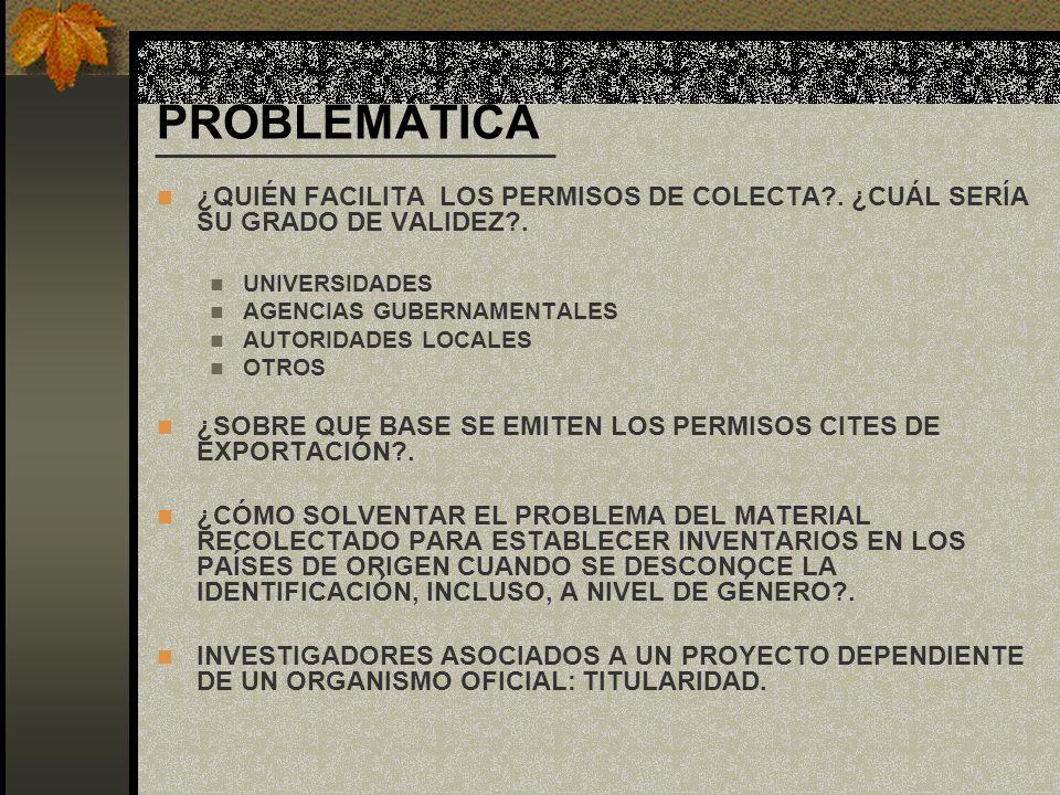 PROBLEMÁTICA ¿QUIÉN FACILITA LOS PERMISOS DE COLECTA . ¿CUÁL SERÍA SU GRADO DE VALIDEZ . UNIVERSIDADES.