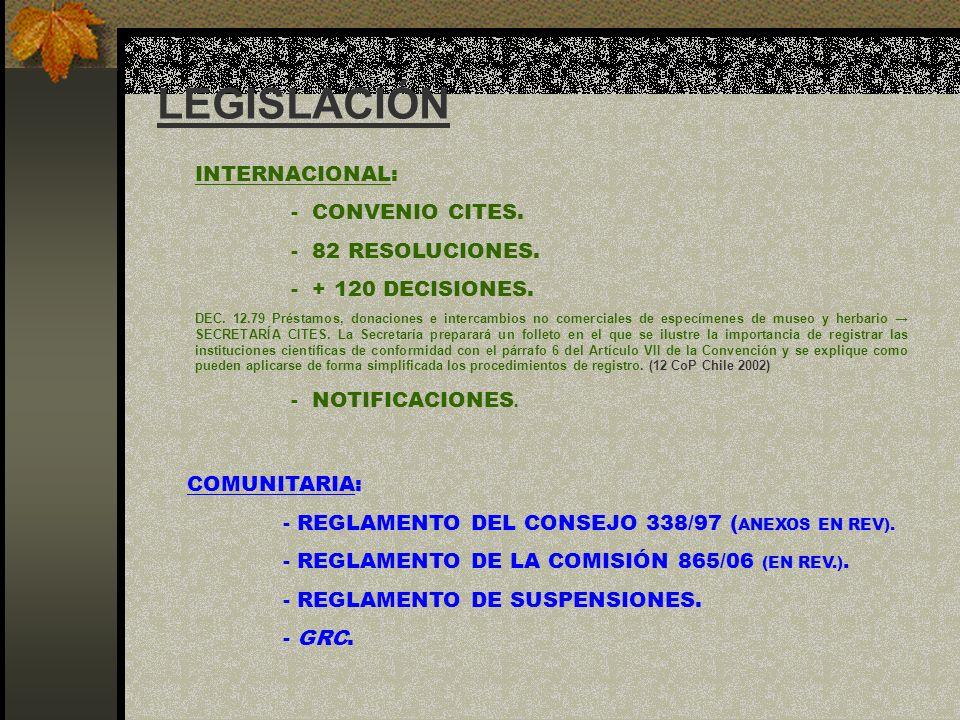 LEGISLACIÓN INTERNACIONAL: - CONVENIO CITES. - 82 RESOLUCIONES.