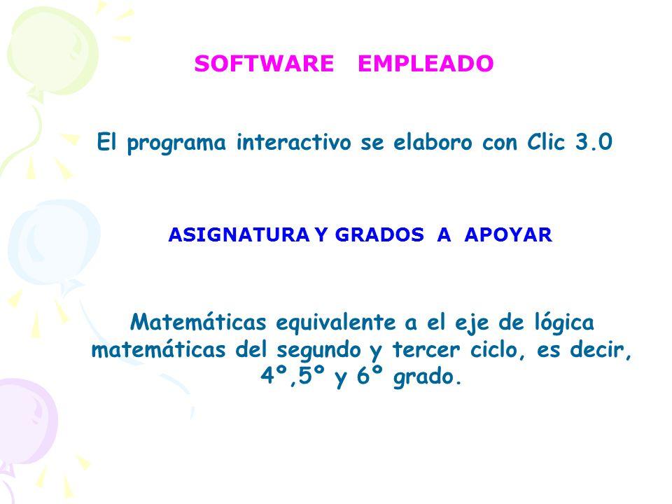El programa interactivo se elaboro con Clic 3.0