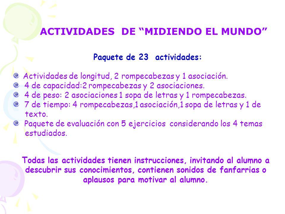 ACTIVIDADES DE MIDIENDO EL MUNDO Paquete de 23 actividades: