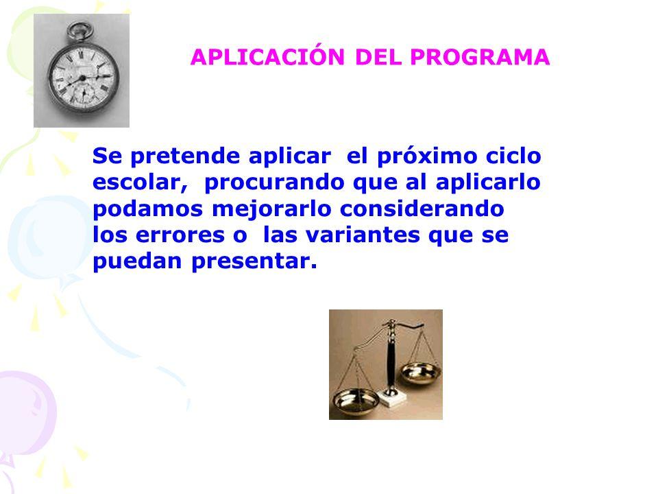 APLICACIÓN DEL PROGRAMA