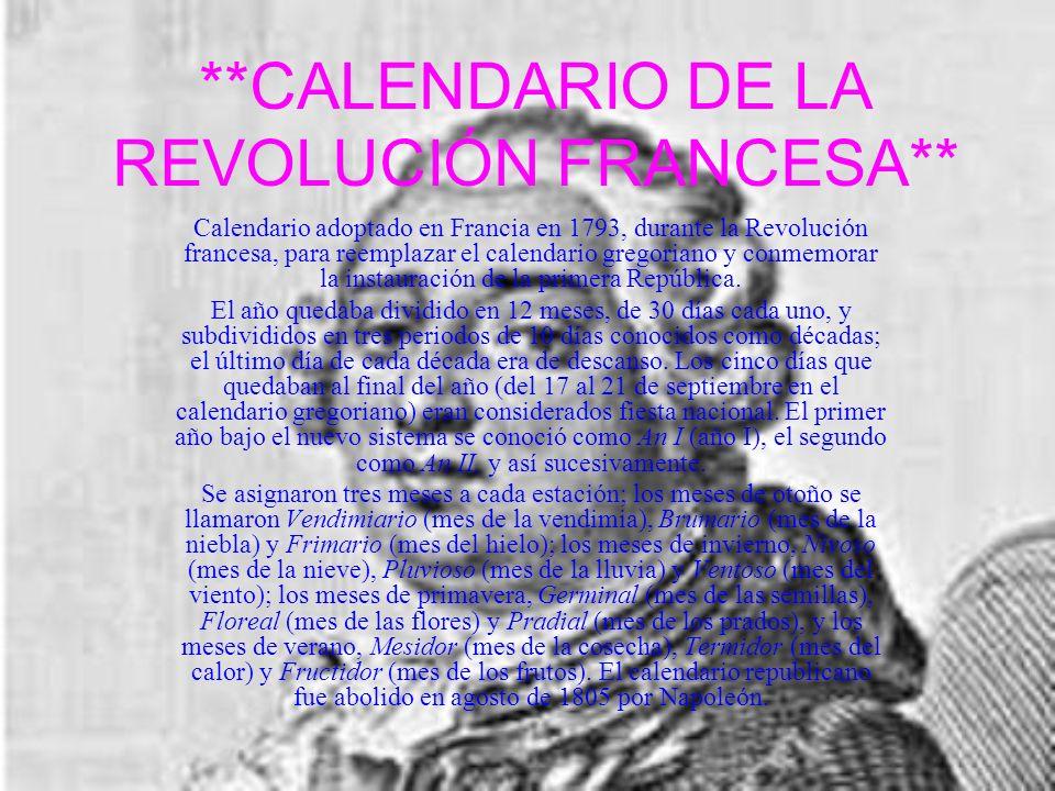 **CALENDARIO DE LA REVOLUCIÓN FRANCESA**