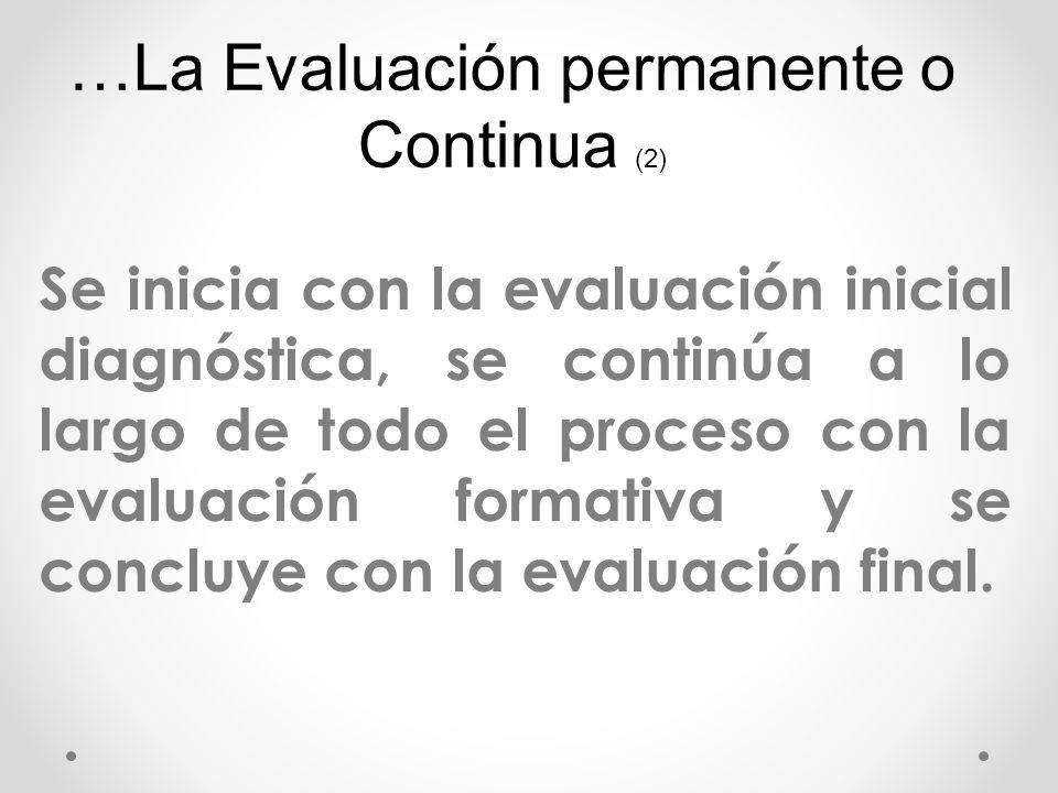 …La Evaluación permanente o Continua (2)