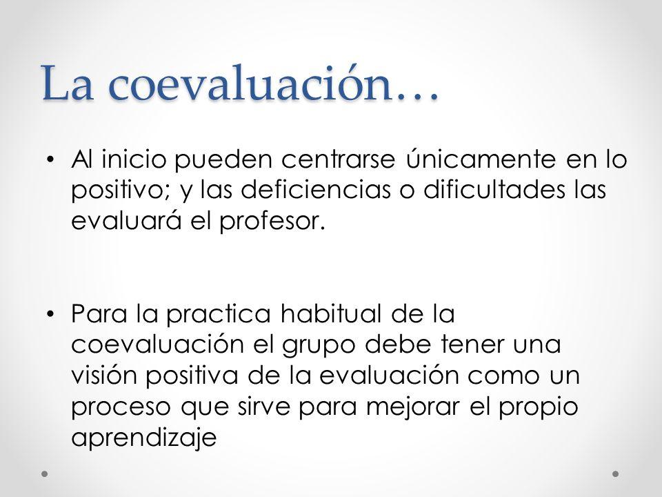 La coevaluación… Al inicio pueden centrarse únicamente en lo positivo; y las deficiencias o dificultades las evaluará el profesor.