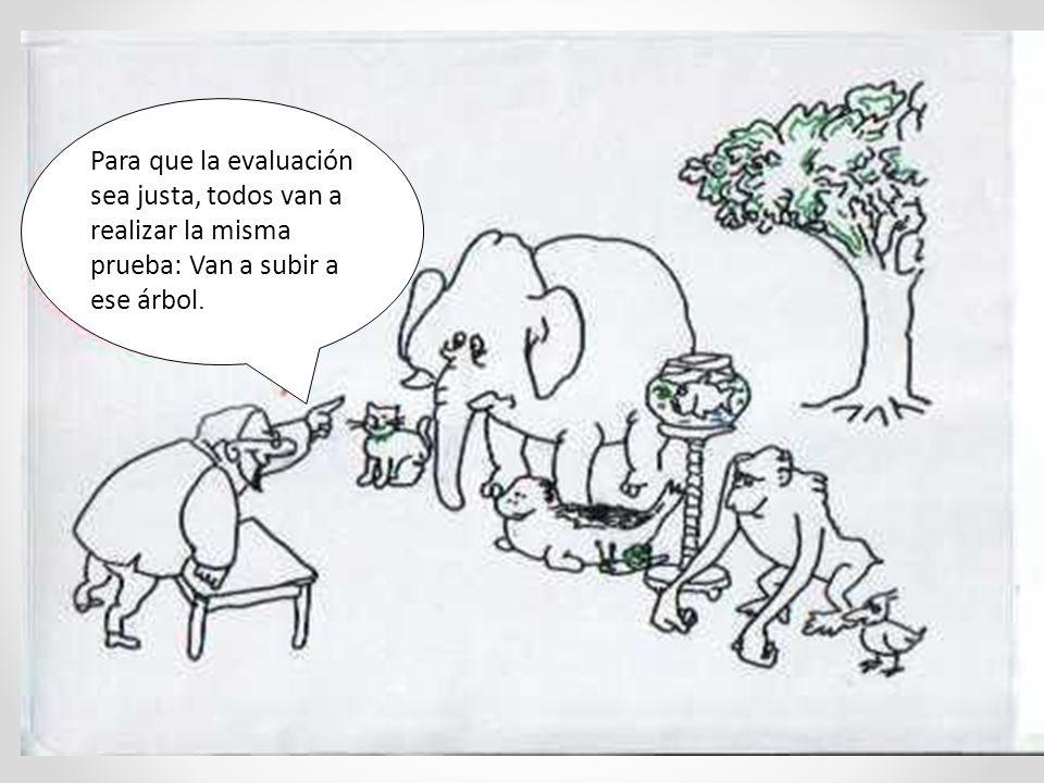 Para que la evaluación sea justa, todos van a realizar la misma prueba: Van a subir a ese árbol.