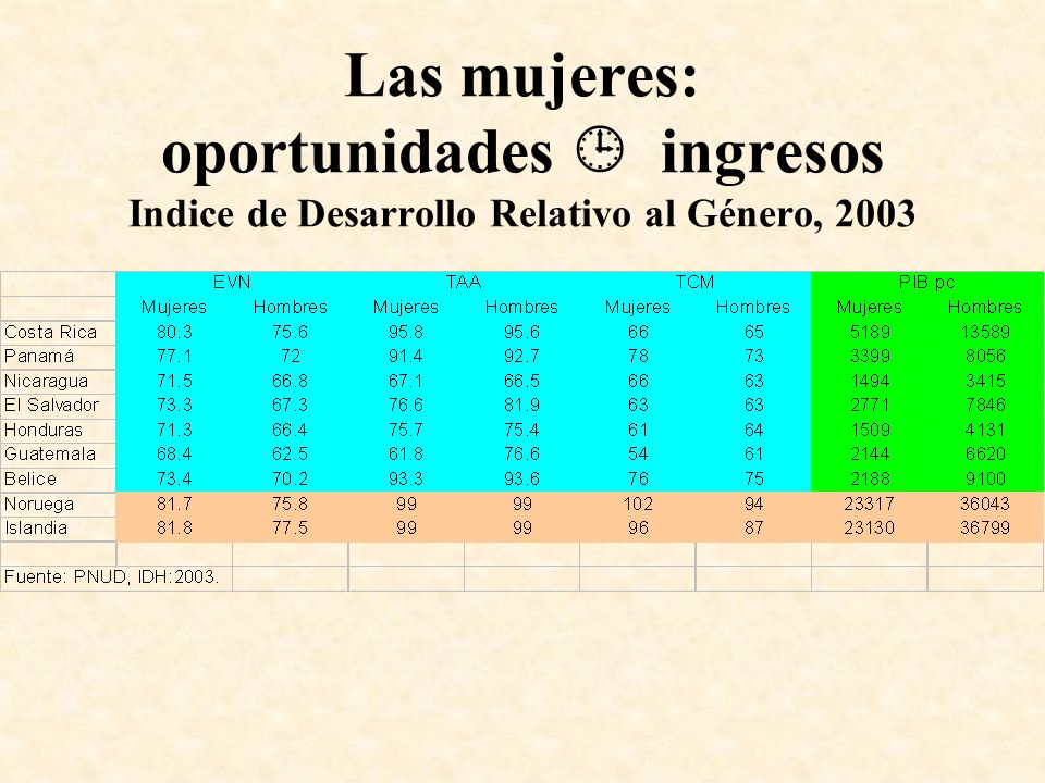 Las mujeres: oportunidades  ingresos Indice de Desarrollo Relativo al Género, 2003
