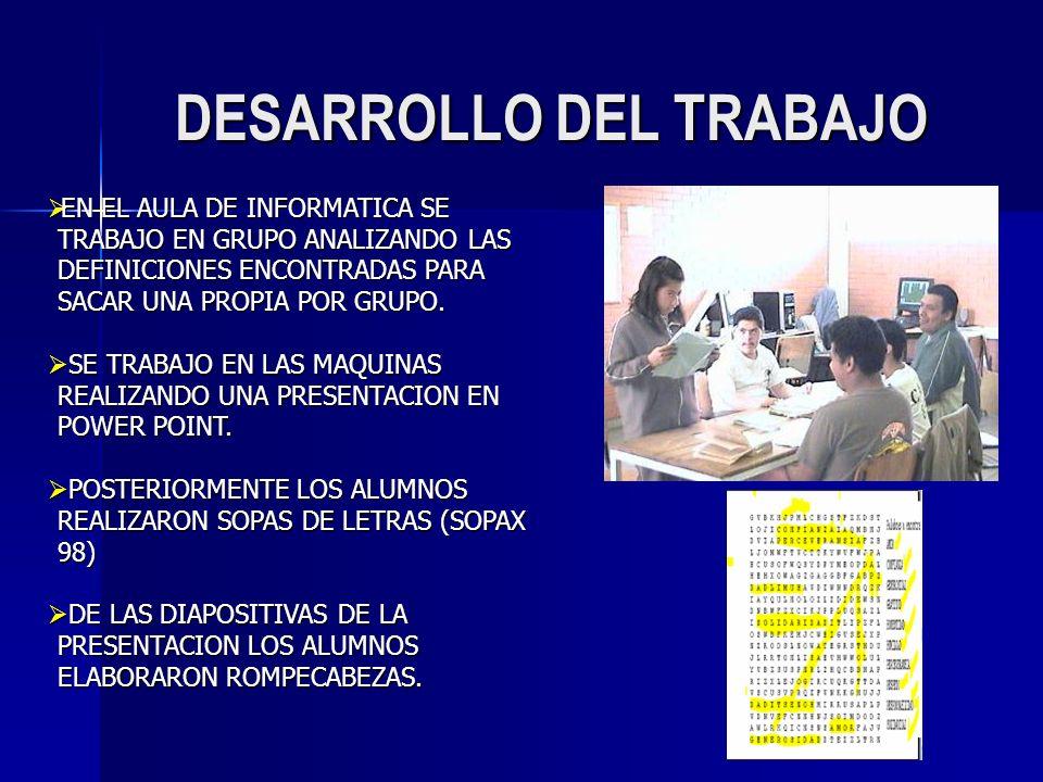 DESARROLLO DEL TRABAJO