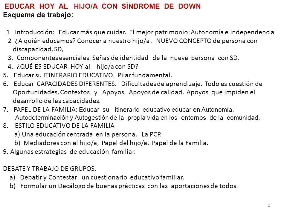 EDUCAR HOY AL HIJO/A CON SÍNDROME DE DOWN Esquema de trabajo: