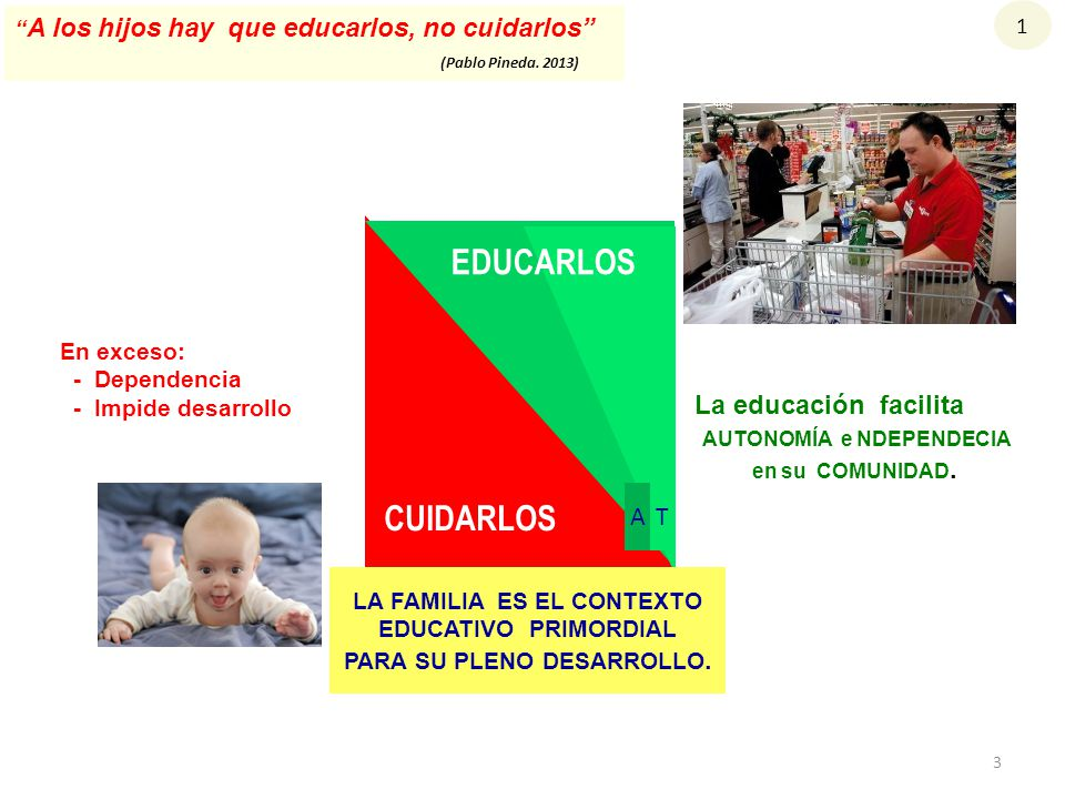 EDUCARLOS CUIDARLOS La educación facilita AUTONOMÍA e NDEPENDECIA A T