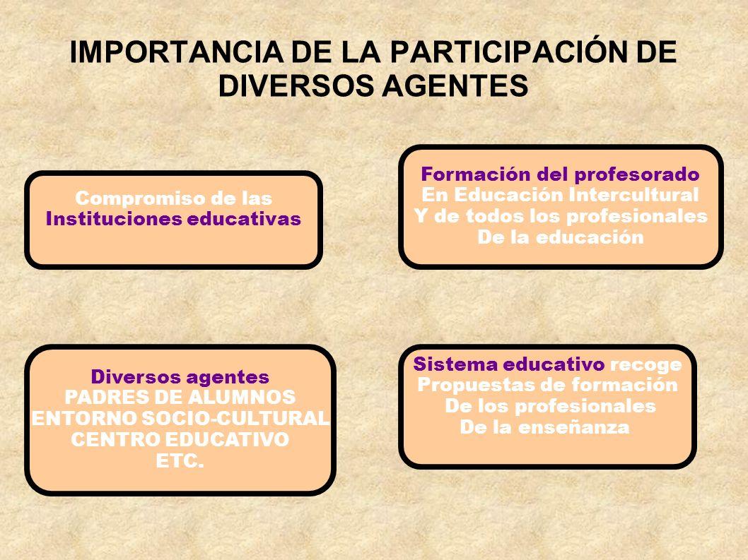 IMPORTANCIA DE LA PARTICIPACIÓN DE DIVERSOS AGENTES