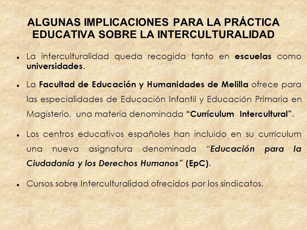 ALGUNAS IMPLICACIONES PARA LA PRÁCTICA EDUCATIVA SOBRE LA INTERCULTURALIDAD