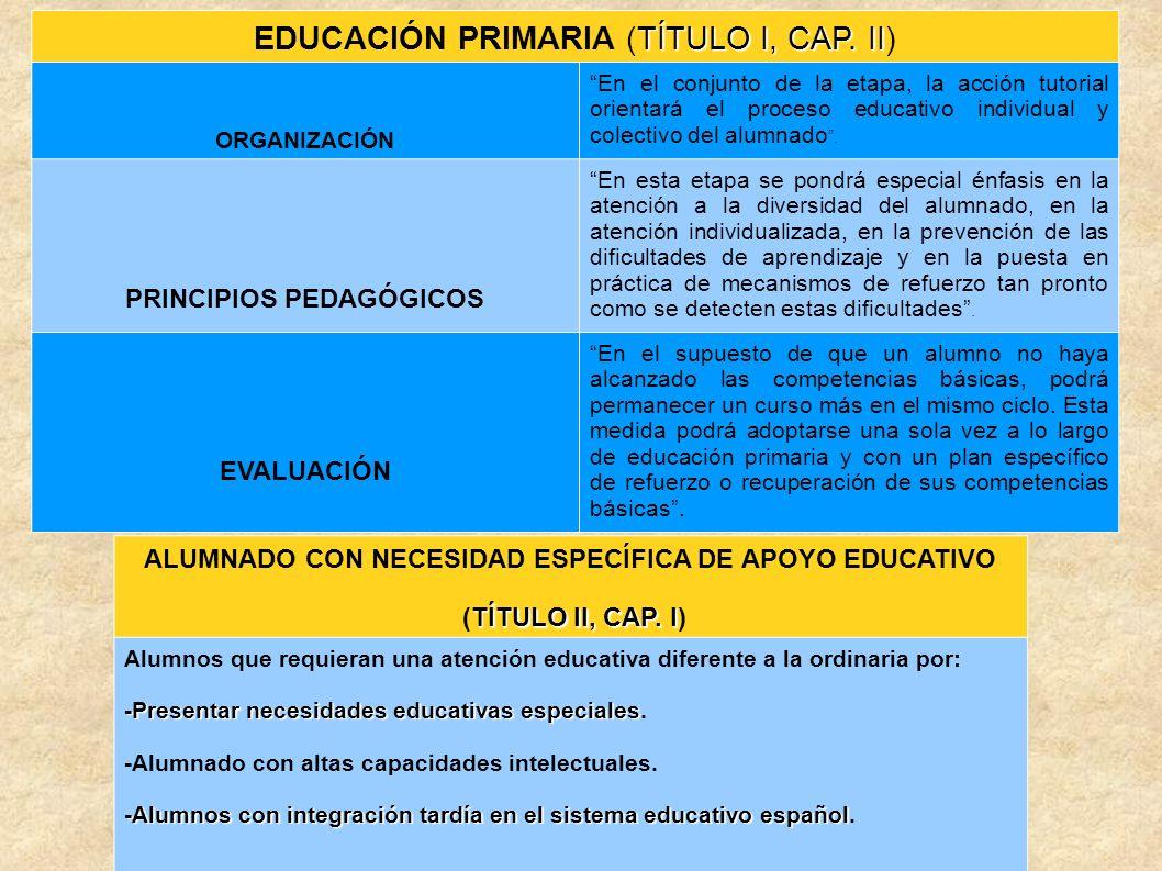 EDUCACIÓN PRIMARIA (TÍTULO I, CAP. II)