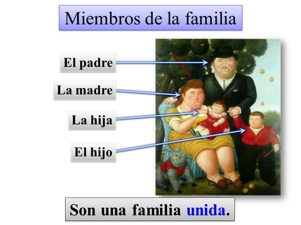 Miembros de la familia Son una familia unida. El padre La madre