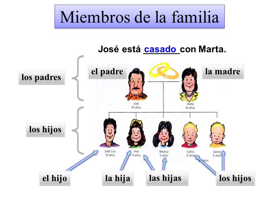 Miembros de la familia José está _______con Marta. casado el padre