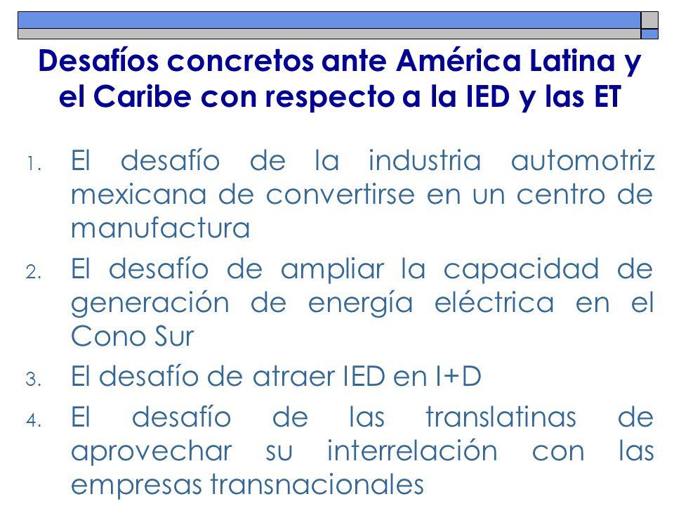 Desafíos concretos ante América Latina y el Caribe con respecto a la IED y las ET