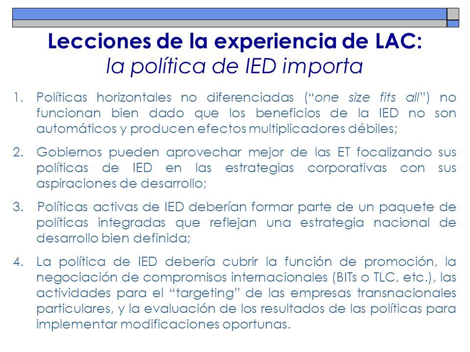 Lecciones de la experiencia de LAC: la política de IED importa