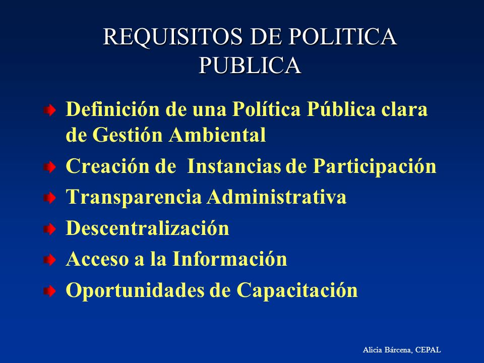 REQUISITOS DE POLITICA PUBLICA