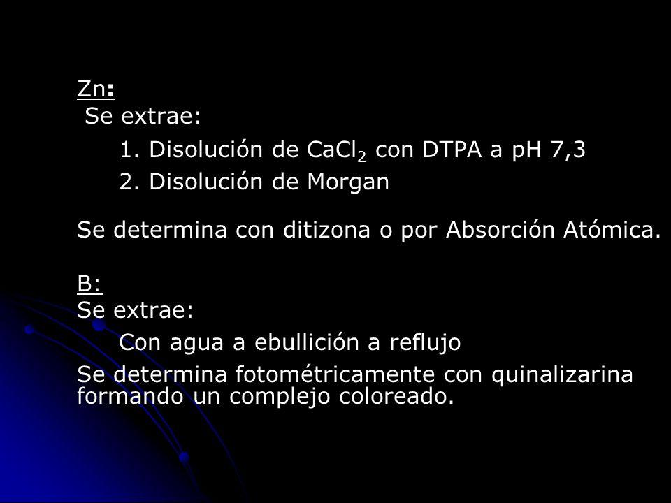 Zn: Se extrae: 1. Disolución de CaCl2 con DTPA a pH 7,3. 2. Disolución de Morgan. Se determina con ditizona o por Absorción Atómica.