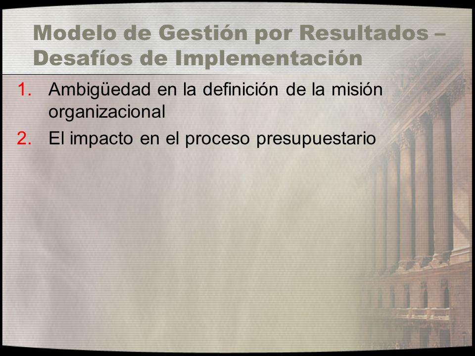 Modelo de Gestión por Resultados – Desafíos de Implementación