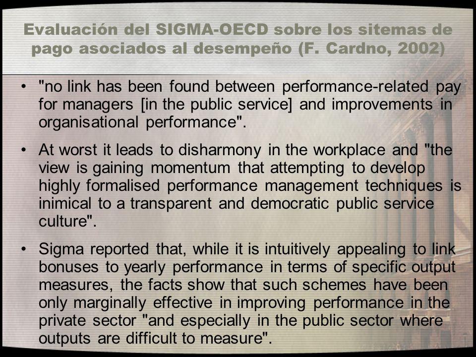 Evaluación del SIGMA-OECD sobre los sitemas de pago asociados al desempeño (F. Cardno, 2002)