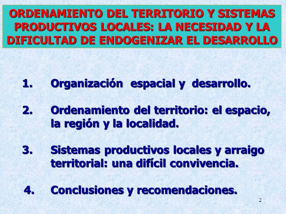 ORDENAMIENTO DEL TERRITORIO Y SISTEMAS PRODUCTIVOS LOCALES: LA NECESIDAD Y LA DIFICULTAD DE ENDOGENIZAR EL DESARROLLO