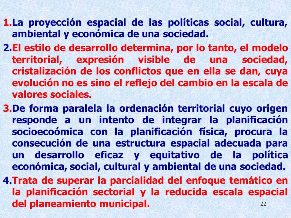 La proyección espacial de las políticas social, cultura, ambiental y económica de una sociedad.