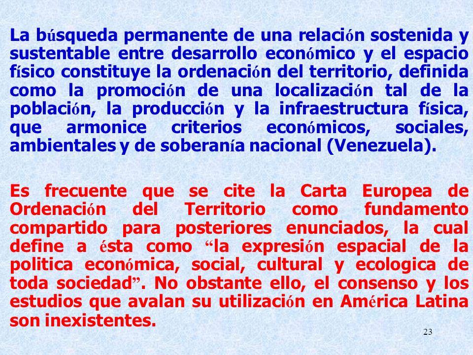 La búsqueda permanente de una relación sostenida y sustentable entre desarrollo económico y el espacio físico constituye la ordenación del territorio, definida como la promoción de una localización tal de la población, la producción y la infraestructura física, que armonice criterios económicos, sociales, ambientales y de soberanía nacional (Venezuela).