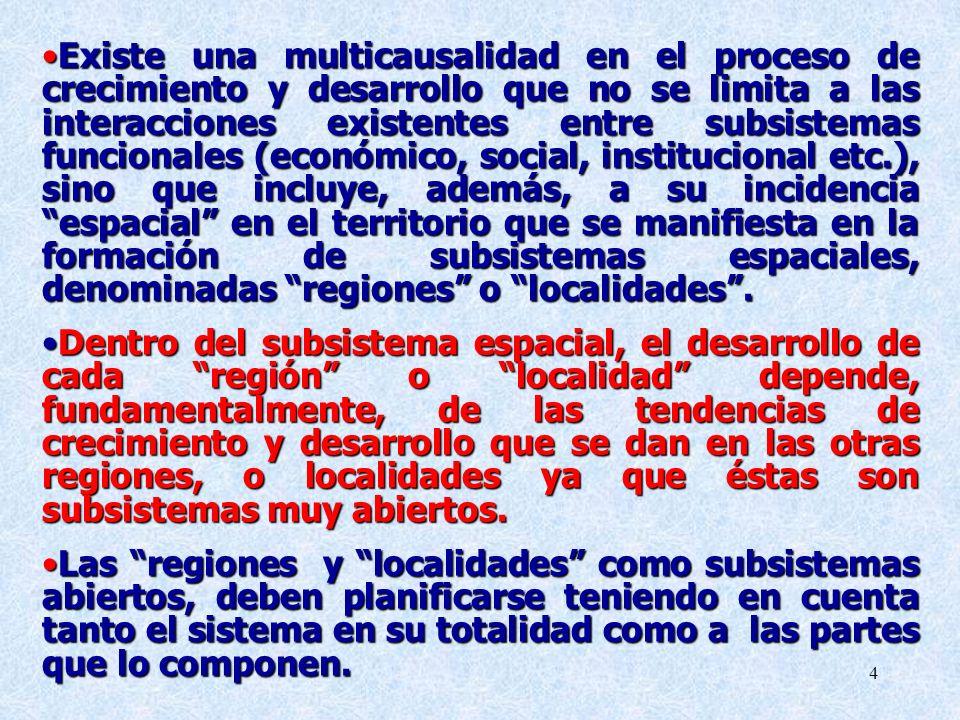 Existe una multicausalidad en el proceso de crecimiento y desarrollo que no se limita a las interacciones existentes entre subsistemas funcionales (económico, social, institucional etc.), sino que incluye, además, a su incidencia espacial en el territorio que se manifiesta en la formación de subsistemas espaciales, denominadas regiones o localidades .