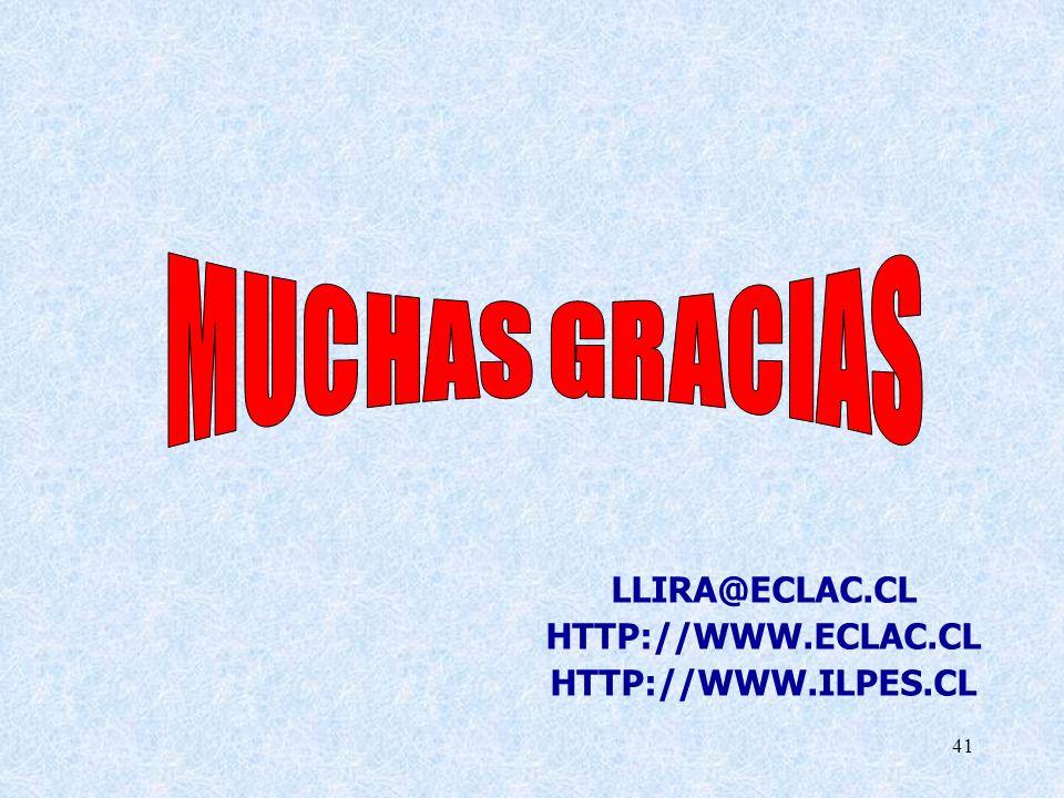 MUCHAS GRACIAS LLIRA@ECLAC.CL HTTP://WWW.ECLAC.CL HTTP://WWW.ILPES.CL